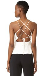 Cushnie Et Ochs Lace Up Back Top Soft White