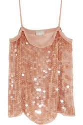 Lanvin Paillette Embellished Silk Georgette Camisole Antique Rose