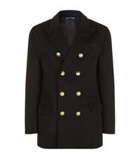Brunello Cucinelli Double Breasted Cashmere Overcoat Navy