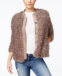 Guess Camryn Faux Fur Jacket Weathered Grey Multi