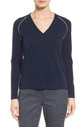 Nordstrom Women's Collection Contrast Seam Cashmere Pullover Navy Medieval