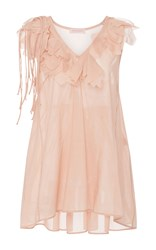 Anna Sammarone Sleeveless Ruffled Blouse Light Pink