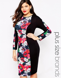 Club L Plus Body Conscious Midi Dress With Poppy Print Panel Black