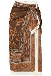 Johanna Ortiz Welcome To The Jungle Printed Cotton Voile Pareo Brown