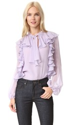 Giambattista Valli Long Sleeve Blouse Lilac