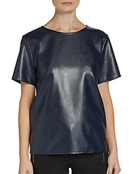 Wells Grace Short Sleeve Faux Leather Tee Blue