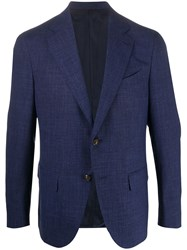 Caruso Single Breasted Fitted Blazer Blue