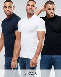 Asos 3 Pack Muscle Pique Polo Shirt In Black White Navy Multi
