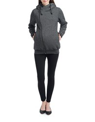 Kimi Kai Maternity Asymmetrical Zip Front Hooded Sweatshirt Black