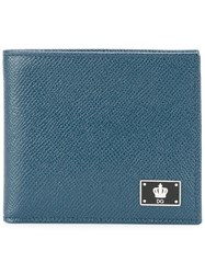 Dolce And Gabbana Crown Logo Plaque Billfold Wallet Blue
