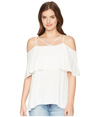 Hale Bob Lady Luxe Viscose Crepe Woven Top Ivory Clothing White