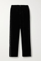 Sleepy Jones Marina Atleisure Grosgrain Trimmed Velvet Pajama Pants Black
