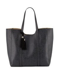 Neiman Marcus Braided Tassel Faux Leather Tote Bag Black