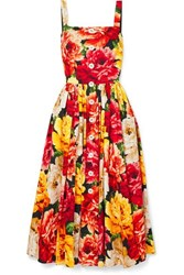 Dolce And Gabbana Floral Print Cotton Poplin Midi Dress Orange