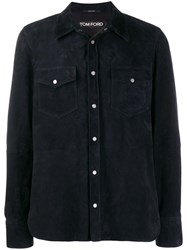 Tom Ford Button Up Shirt Jacket Blue