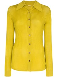 Dodo Bar Or Ribbed Knit Buttoned Top Green