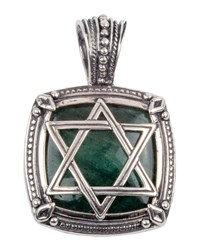 Konstantino Men's Sterling Silver Star Of David Pendant With Aventurine Green