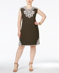 Alfani Plus Size Embroidered Shift Dress Only At Macy's Urban Olive