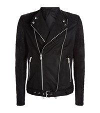 Balmain Waxed Cotton Biker Jacket Male Black