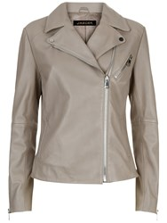 Jaeger Leather Biker Jacket Light Grey