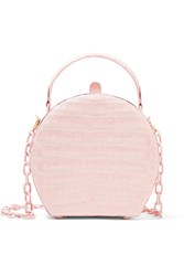 Nancy Gonzalez Crocodile Shoulder Bag Pastel Pink