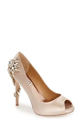 Women's Badgley Mischka 'Royal' Crystal Embellished Peeptoe Pump 4 1 4' Heel