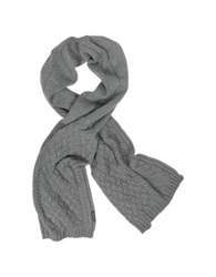 Armani Jeans Cable Knit Wool Blend Long Scarf Grey