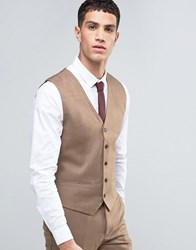 French Connection Plain Flannel Waistcoat Tan