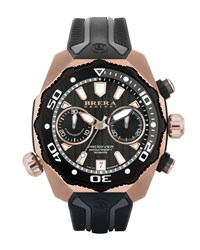 47Mm Prodiver Chronograph Watch With Rubber Strap Rust Copper Men's Brera