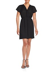 Collective Concepts Shirred Wrap Dress Black