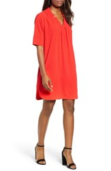 Bobeau Pleat Front Curved Hem Shirtdress Red