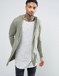 Asos Knitted Hooded Cardigan In Light Khaki Slate Stone Green