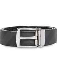 Burberry Reversible London Check And Leather Belt Grey