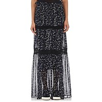 R R Studio Women's Appliqued Chiffon Tiered Maxi Skirt Blue