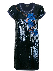Twin Set Sequin Embellished Dress Women Cotton Nylon Polyester Viscose S Blue