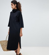 Asos Design Tall High Neck Midi Swing Dress With Trumpet Sleeves Black