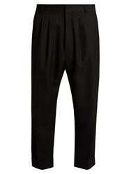 Haider Ackermann Orbai Tapered Leg Cropped Wool Trousers Black