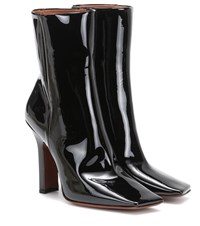 Vetements Patent Leather Ankle Boots Black