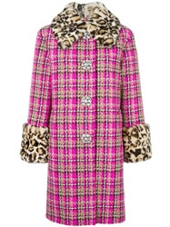 Marc Jacobs Checked Tweed Coat Pink Purple