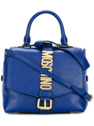 Moschino Letters Buckle Satchel Bag Blue