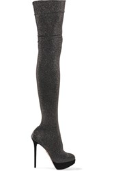 Charlotte Olympia More Is More Metallic Jersey Over The Knee Boots Black