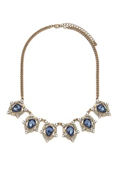 Forever 21 Teardrop Statement Necklace Antic Gold Blue