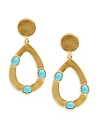 Kenneth Jay Lane Couture Open Teardrop Turquoise Clip On Earrings