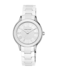 Anne Klein Pave Glitz Oversized Bracelet Watch White