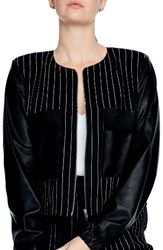 Elvi Plus Size Women's Pinstripe And Faux Leather Jacket