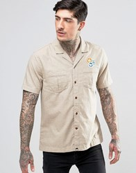 Pretty Green Safari Shirt In Short Sleeve In Slim Fit Stone