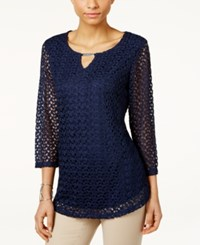 Jm Collection Crochet Lace Keyhole Top Only At Macy's Intrepid Blue