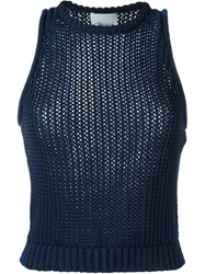 3.1 Phillip Lim Open Knit Tank Top Blue