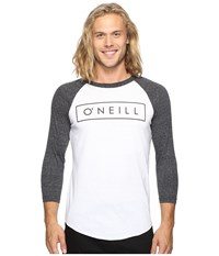 O'neill Running Raglan Long Sleeve Screens Impression T Shirt White Black Men's T Shirt