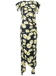 Marni Floral Print Draped Dress Black